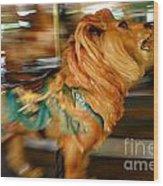 Carousel Lion Wood Print