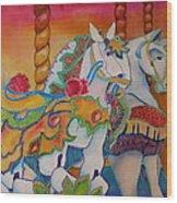 Carousel Of Horses Wood Print