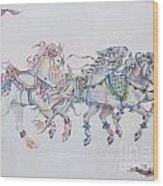 Carousel Parade Wood Print