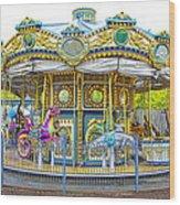Carousel Ride In Pittsburgh Pennsylvania Wood Print