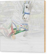 Carousel White Horse In A Child's World Wood Print