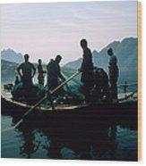 Carp Fishermen In Lake Formed By A Dam Wood Print