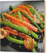 Carrot And Green Beans Stir Fry Wood Print