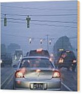 Cars And Traffic Lights In A Rain Storm Wood Print