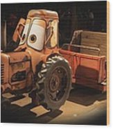 Cars Land Cow Tractor Wood Print