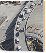 Cars on an Exit Ramp Wood Print