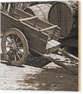 Cart And Wine Barrels In Italy Wood Print
