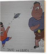 Cartoon David And Goliath Wood Print by Annie Abraham