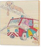 Cartoon Fire Engine And Animals Wood Print
