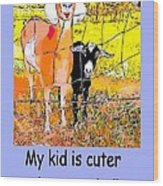 Cartoon Kid Wood Print by Myrna Migala
