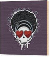 Cartoon Skull With Hearts As Eyes Wood Print by Sherrie Thai