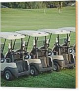 Carts Ready To Hit The Greens Wood Print