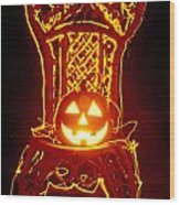 Carved Smiling Pumpkin On Chair Wood Print