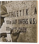Carving The Name Of Jesse Owens Into The Champions Plinth At The 1936 Summer Olympics In Berlin Wood Print