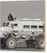 Casper Armored Vehicle Blocks The Road Wood Print by Terry Moore