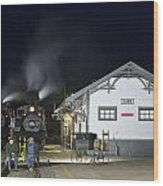Cass Station At Night Wood Print