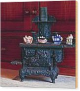 Cast Iron Stove With Teapots Wood Print
