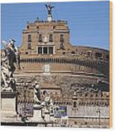 Castel Saint Angelo On The River Tiber. Rome Wood Print