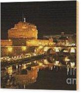 Castel San Angelo At Night. Rome Wood Print by Bernard Jaubert