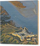 Castillo De San Marcos In St Augustine Florida - Aerial Photo Wood Print