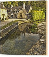 Castle Combe Bridgeside Wood Print