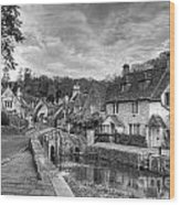 Castle Combe England Monochrome Wood Print