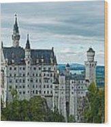 Castle Neuschwanstein With Surrounding Landscape Wood Print