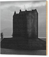 Castle Stalker Dusk Silhouette Wood Print