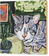 Cat And Mouse Friends Wood Print