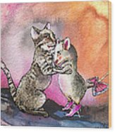 Cat And Mouse Reunited Wood Print