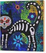 Cat Day Of The Dead Wood Print