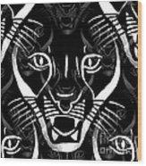 Cat Mask Wood Print