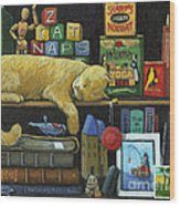 Cat Naps - Old Books Oil Painting Wood Print