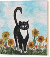 Cat Walk Through The Sunflowers Wood Print