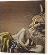 Cat With Venetian Mask Wood Print
