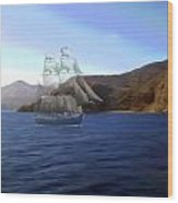 Catalina Shoreline Ghost Ship Wood Print