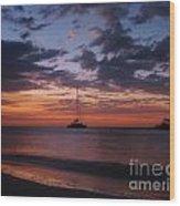 Catamarans  At Sunset Wood Print