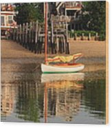 Catboat And Rippled Water Reflections Wood Print