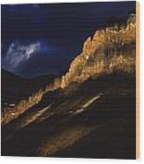 Cathedral Crags At Dusk, Yoho National Wood Print