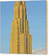 Cathedral Of Learning In Evening Light Wood Print