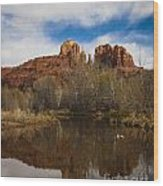 Cathedral Rock Reflections Portrait 2 Wood Print by Darcy Michaelchuk