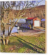 Catoctin Lake Boathouse Wood Print