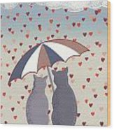 Cats In Love Wood Print