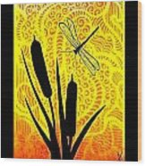 Cattails And Dragonfly Wood Print
