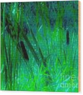Cattails Wood Print