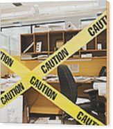 Caution Tape Blocking A Cubicle Entrance Wood Print