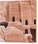 Cave Dwellings Petra. Wood Print by Jane Rix