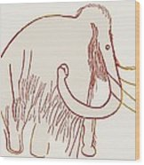 Cave Painting Of A Mammoth, Artwork Wood Print