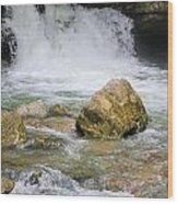 Cave Water Fall Wood Print