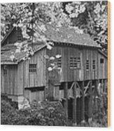 Cedar Creek Grist Mill Bw Wood Print